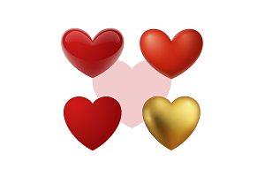 Realistic vector hearts