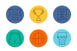 Basketball equipment icons. Vector