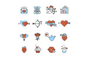 Romantic love and wedding icons
