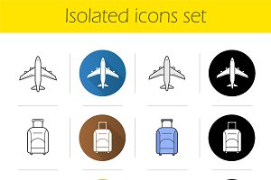 Air travel icons set. Vector