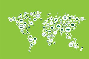 World map with media icons green