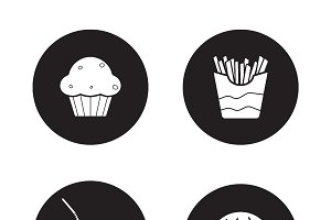 Fast food black icons set. Vector