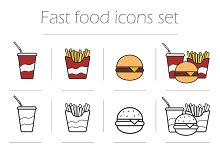Fast food icons set. Vector