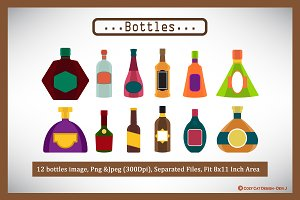 Digital Clipart Bottles