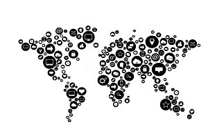 World map black with media icons