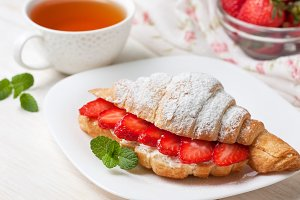 Croissant and strawberry