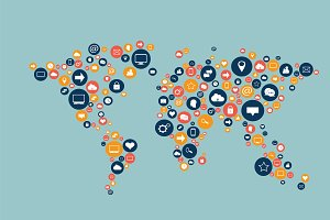 World map flat social media icons