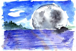 Watercolor fantasy moon landscape