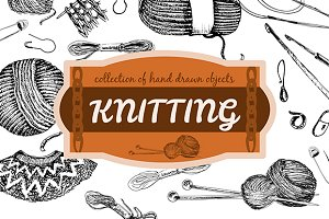 Knitting. Hand drawn ink collection