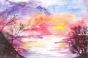 Watercolor lake river sea sunset