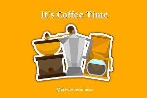 Digital Clipart It's Coffee Time