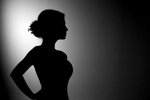 silhouette of beautiful woman