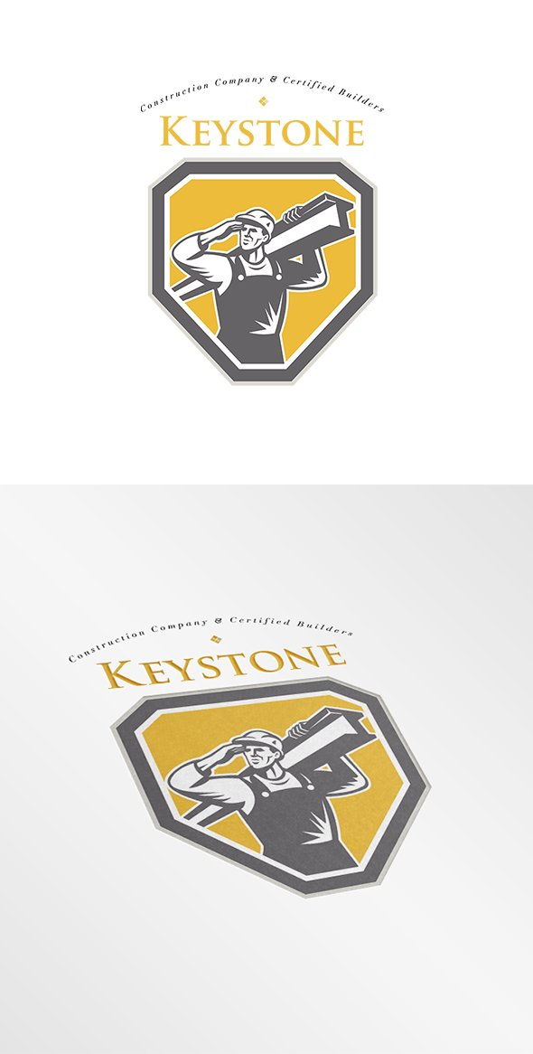 keystone worker carrying a steel beam  mascot logo