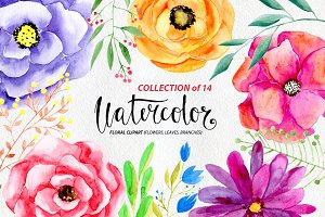 Watercolor flowers png clipart