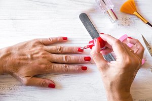 nice woman manicured fingernails