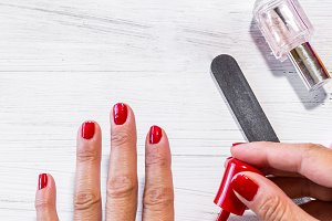 nice woman manicured fingernails