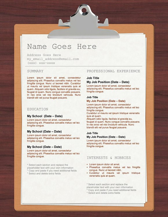 clipboard template resume resume templates creative market