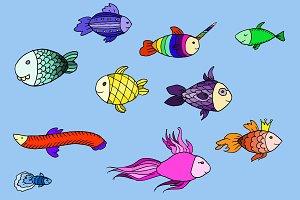 Doodle fabulous fish. Vector