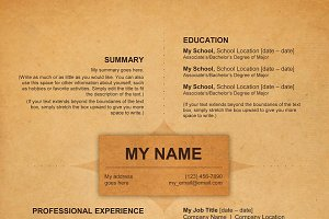 """Vintage Leather"" Template Resume"