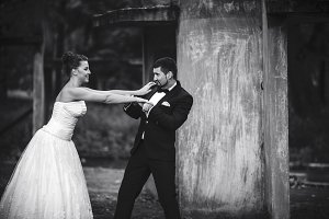 bride and groom having fun