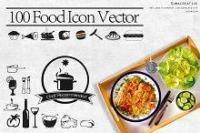 100 food icon vector