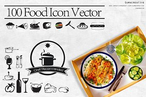 100 food icon vector