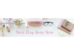 Pink & Gold Etsy Shop Banner Stock