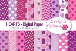 Hearts Digital Paper - Valentine