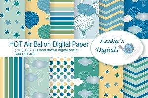 Hot Air Balloons Digital Paper