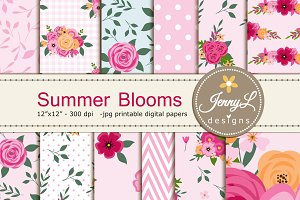 Floral Summer Pink Digital Paper