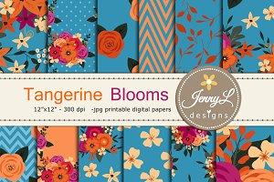 Tangerine Floral Digital Paper