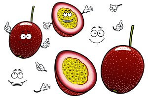Cartoon passion fruits