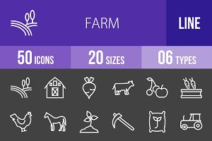 50 Farm Line Inverted Icons