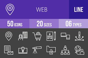 50 Web Line Inverted Icons