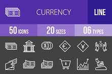 50 Currency Line Inverted Icons
