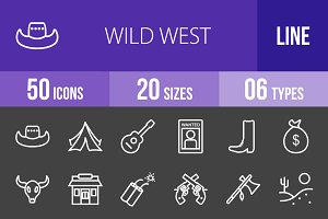 50 Wild West Line Inverted Icons