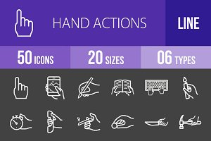 50 Hand Actions Line Inverted Icons