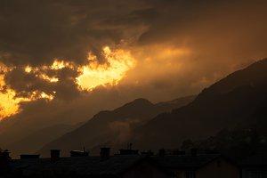 Dark and vivid sunset
