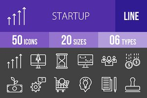50 Startup Line Inverted Icons