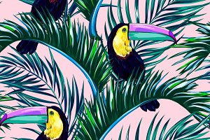 Toucans,palm leaves vector pattern