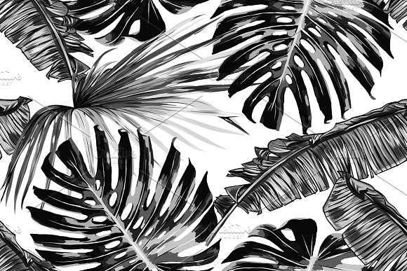 Tropical Leaves Vector Pattern Graphic Patterns Creative Market Impressive Tropical Leaves Pattern