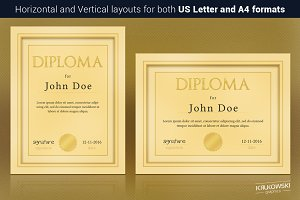 Gold Diploma Template