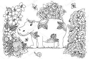 Doodle hippopotamus and flowers
