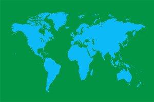 World map flat green vector