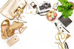 Fashion flat lay square format