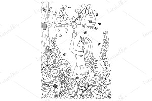 Doodle girl and pear, flowers