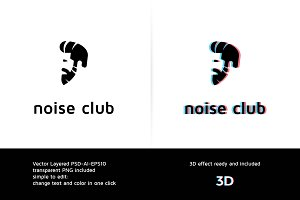 Noise Disco Club Logo Template