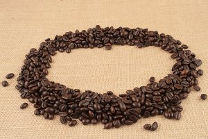 coffee beans arranged in circle