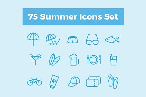 75 Summer Icons Set