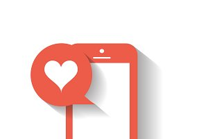 Smartphone with heart icon